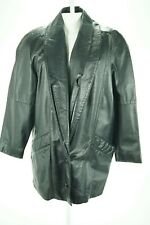 08945 D'linea Women Coat Jacket Genuine Real Leather Black Small Bust 42 XL