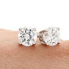 ❄❄ Boucles d'oreilles puces Diamants naturel véritable Or blanc 18K 750 BO 0.40