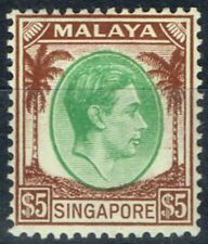 Singapore 1948 $5 Green & brown SG15 P.14 Fine Lightly Mtd Mint