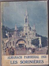 ALMANACH PAROISSIAL 1958   LES SORINIERES   LOIRE ATLANTIQUE BRETAGNE