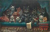 Louis Wain cats at the play an exciting moment Christmas Raphael Tuck (see back)