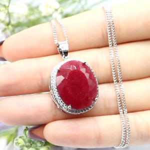 34x21mm Luxury Big Oval Gemstone 22x18mm Real Red Ruby White CZ Silver Pendant