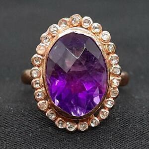 Antique 5.75ctw Old Rose Cut Diamond & Amethyst 14K Rose Gold 925 Ring Size 7
