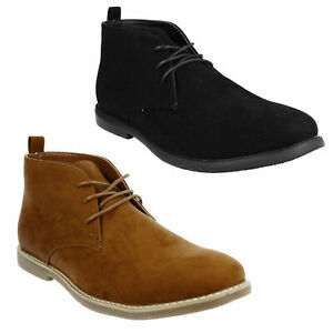A3R071 MENS MALVERN LACE UP CASUAL EVERYDAY DESERT ANKLE BOOTS BLACK TAN SIZE