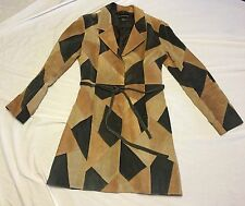 MISDEMEANOR Brown Suede Leather Patchwork Belted Trench Coat Womens sz M Medium
