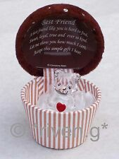 CUPCAKE BEST FRIEND TEDDY Bear Box@22ct Gold KEEPSAKE LOVE HEART Gift Chocolate