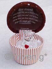 Cupcake migliore amico Teddy Bear Box@22ct ORO Ricordo Regalo Amore Cuore Cioccolato