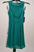 City Studios Juniors Floral Lace Fit and Flare Teal Dress Size 0