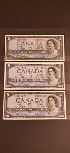 Three (3) of 1954 Canada $5 REPLACEMENT (*) Banknotes. RARE PREFIXES *S/S & *R/X