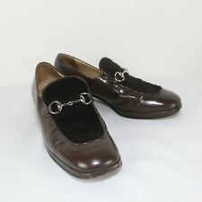 GUCCI Ladies Brown Leather Casual Heels Size 7.5B