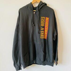 Guns N Roses GNR Night Train Jacket Hooded Zip Up Tultex Faded Black Mens 2XL