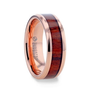 Rose Gold Plated Men's Tungsten Wedding Band with Koa Wood Inlay - 8mm, NEW