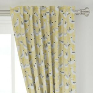 """Seagulls Friendly Polka Dots Beach Yellow 50"""" Wide Curtain Panel by Roostery"""