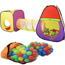 Spielzelt +Tunnel + 200 Bälle + Tasche Kinderzelt Bällebad Spielhaus Babyzelt