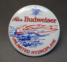 1979 Miss Budweiser U-12 Unlimited pinback button hydroplane racing Beer