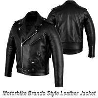 Motorbike Armoured Leather Brando Style Jacket Motorcycle Race Jackets for Men