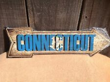 """Connecticut State Flag This Way To Arrow Sign Novelty Metal 17"""" x 5"""""""