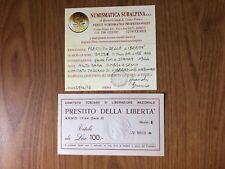 PRESTITO DELLA LIBERTA' TITOLO DA LIRE 100 1944 MOLTO RARA TIMBRO A SECCO qFDS