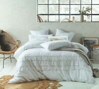 Accessorize Boho White Quilt Doona Cover Set | Cotton Linen Double Queen King