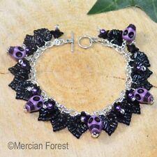 El jardín de hueso en púrpura-Gótico Pulsera, Joyas, Cráneo Gótico, Halloween