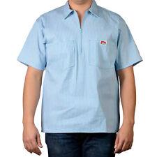 ORIGINAL BEN DAVIS HALF ZIP SLEEVE SHIRT STRIPES BLUE (Workwear since 1935)