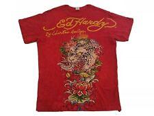 Ed Hardy Mens T-Shirt XL Red Tiger Graphic V2
