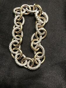 .David Yurman sterling silver and 18k gold large Oval Link bracelet Beautiful