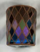 Yankee Candle Votive Holder HOMECOMING Blue Green Brown Purple Glass & 2 Votives