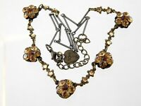 Vintage Yoni Z Rhinestone Flower Necklace Bronze Colored Metal Orange Floral