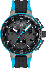 New Tissot T-Race Cycling Mens Black & Blue Rubber Strap Watch T1114173744105