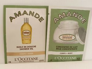 L'Occitane 60ml Amande Body Milk Concentrate & Shower Oil 10 x6ml sample sachets