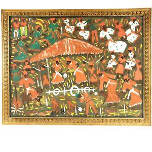 Gerard Fortune Original Large Painting, Haitian Haiti Folk Art, Framed & Signed