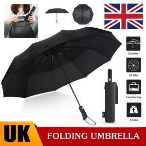 10 Ribs Portable Umbrella Auto Open & Close Windproof Travel Compact Folding UK