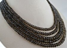 NATURAL BLACK SMOKY QUARTZ BEADS FACETED ROUND 480 CTS GEMSTONE LADIES NECKLACE