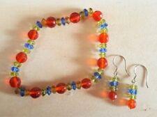 Handmade in US. Multi-colored Quartzs earrings & bracelet set - FREE SHIPPING!