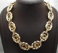 Technibond Yellow Citrine Gemstone Necklace 14K Yellow Gold Clad Silver 925