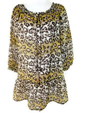 Nicola Womens Leopard Print Sheer Peplum Feather Embellished Blouse ~ Size M