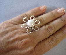 Mexican 925 Sterling Silver Taxco Big Wire Shape FLOWER White Pearl Ring Size 7