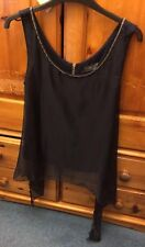 Pussycat London Top size 8 navy with gold chain detail sheer asymmetric