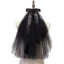 Black Lace Veil Ribbon Bow Tulle Veil with Comb Photo Props Party Headwear