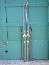 "ANTIQUE Wooden 73"" Long HICKORY Skis with Bindings + Bamboo Poles"