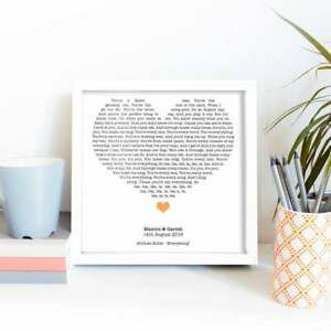 Song Lyrics in Heart, Mother's Day Gift