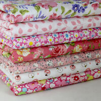 """Sewing Pink 7 Assorted Pre Cut 10"""" Squares Quilting Cotton Fabric"""