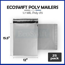 25 12x155 White Poly Mailers Shipping Envelopes Self Sealing Bags 17 Mil