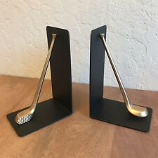 Vintage Golf Club Bookends Black Metal & Brass Sport Decor Mancave Dad Gift