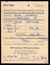Mietquittung über Einzahlung bei der KWV Berlin-Friedrichshain, 1990