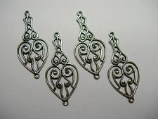 Silver Plated Drops Earring Findings Connectors Filigree Heart - 4
