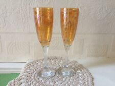 Italian Crystal 3a Wine Glass Pair Hand Etched Amber Twist Stem