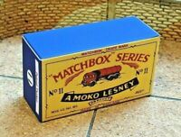 LESNEY MATCHBOX MOKO NO.11B, ERF ROAD TANKER, CUSTOM DISPLAY/STORAGE BOX ONLY