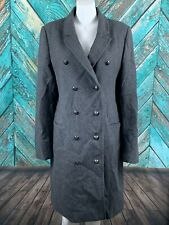 Banana Republic Women's Military Coat XL Gray Wool Double Breasted Long Warm